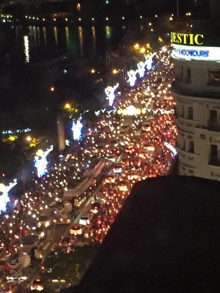 Vietnam won the semi-final soccer game against South Korea. The city went wild with everyone grabbing their national flag and getting on their motor scooters. Party went on well past midnight!